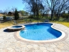freeform pool with spa, natural pool, concrete decking